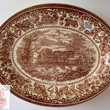 Brown Transferware  Ironstone Platter Horse Pulling Cart on Farm English / French  Farming Scenery