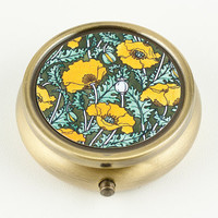 Pill Box or Mint Box - Golden Yellow Poppies, Bronze Tone