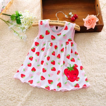 2016 new Cute Baby Girl Dress Cotton Dot Striped Slip Dress pear flower Children Kids Clothing 0-18M dress