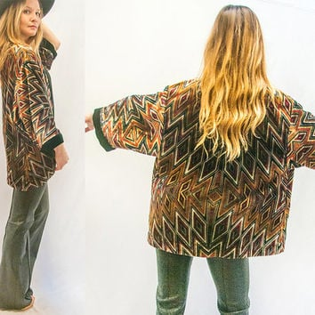 Velvet Psychedelic Kimono Bell Sleeved Sweater | 90s does 70s Hippie Gypsy Sweater Top Jacket Cardigan |