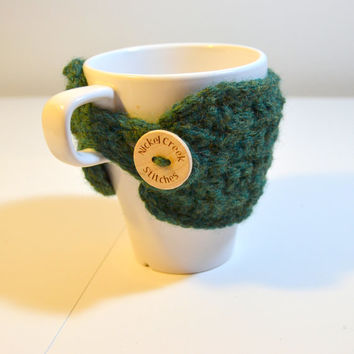 Hunter Green Coffee Cozy, Basket Weave crochet sleeve, Dark Green Cup Sleeve, Crochet Cozy, Ready to Ship