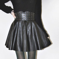 2014 Rock Gothic Rivet Studded Black Faux Leather High Waist Corset Skirt (Color: Black) = 1946150468