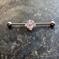 White Crystal 14g Industrial Barbell Scaffold Piercing 1 1/2""