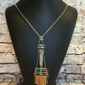 Part of Her Necklace: Gold/Turquoise