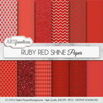 "Red digital paper ""RUBY RED SHINE"" ruby red papers with red quatrefoil, chevron, polka dots, diamonds, harlequin, red hearts, red glitter"