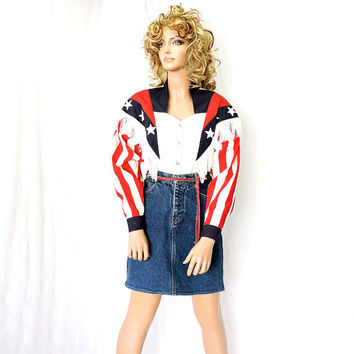 Vintage 70s rodeo shirt / size M / 1970s Panhandle Slim USA / western fringed shirt / Red White Blue patriotic western fringe cowgirl shirt