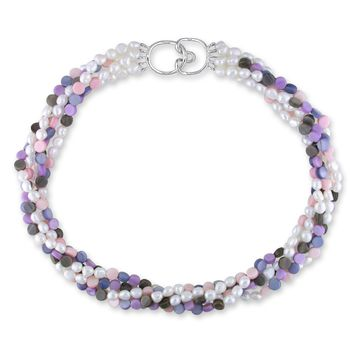 17? 5-Strands 5-6mm White Freshwater Cultured Rice Pearl & Multi Color M.O.P.Beads Necklace w/Silver Clasp