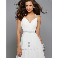 Preorder - Faviana 7663 Ivory Chiffon Ruched Bodice Short Dress 2015 Homecoming Dresses