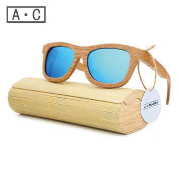 A.C 2017 New fashion Products Unisex Glass Bamboo Sunglasses
