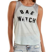 Pale Mint Combo Bae Watch Graphic Baseball Tee by Charlotte Russe
