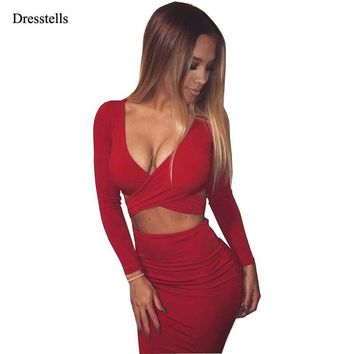 Dresstells Top Sexy V-neck Long Sleeves Design Women Club Dress Cocktail dress Ever Pretty bodycon Above Knee Party Dresses