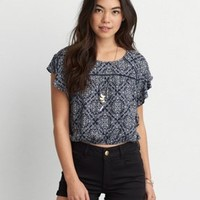 AEO Flowy Peasant Top , Rust | American Eagle Outfitters