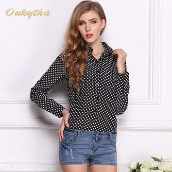 Oukytha 2017 New Europe And The United States Women's Black Wave Shirt Chiffon Shirt Big Autumn