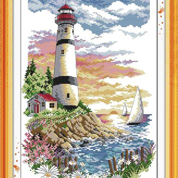 Lighthouse (4) Crafts Sewing Cross Stitch Kits DMC 11CT Printed Embroidery 14CT DIY Handmade Needle Work Wall Home Decor