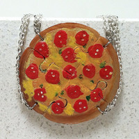 Friendship Necklaces Pepperoni Pizza Set of 4 puzzle necklaces Polymer clay jewelry