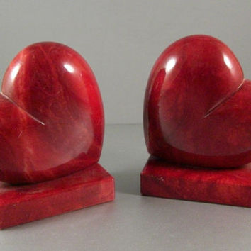 2 Red Alabaster Heart Bookends / Handmade Italian Pair