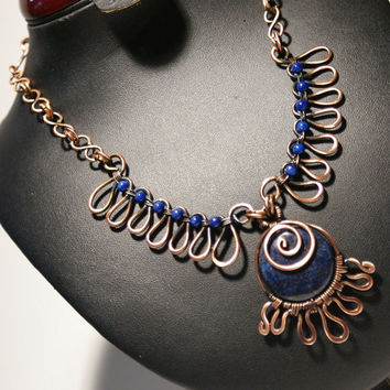 Lapis Lazuli Necklace / Copper Jewelry / Lapis Lazuli Stone / Copper Necklace / Wire Wrapped Jewelry Handmade / Woven Wire Jewelry