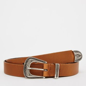 ASOS   ASOS Leather Belt With Western Buckle at ASOS