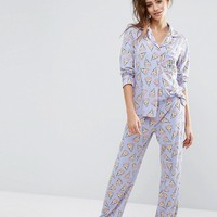 Chelsea Peers Pizza Long Pyjama Set at asos.com