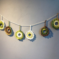 Crochet Baby Garland,Garland,Handmade Garland, White green brown,Flower Garland,crochet decoration,wall decoration,baby room decoration