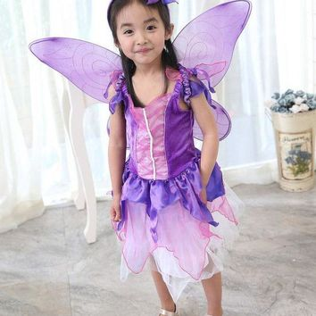 DCCKH6B Vocole Children Girl Purple Butterfly Fairy Costume Fairytale Princess Cosplay Fancy Dress