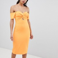 River Island Bardot Twist Front Bodycon Dress at asos.com