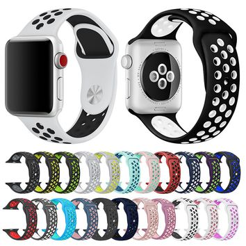 Soft Silicone Replacement Wristband for Apple Watch Series 4 1 2 3 Breathable hole iwatch band 42mm iwatch band 38mm strap