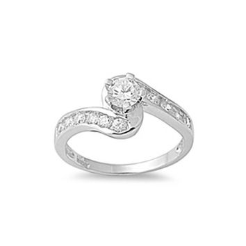 Classic Engagement Ring Twist with Channel Set Cubic Zirconia Stones Sterling Silver
