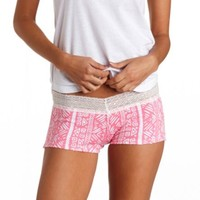 TRIBAL PRINT LACE-TOPPED DORM SHORTIES
