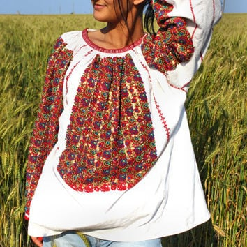 Antique Vintage Ethnic Floral Beaded Embroidered Blouse Traditional Hippie Blouse Folk Costume
