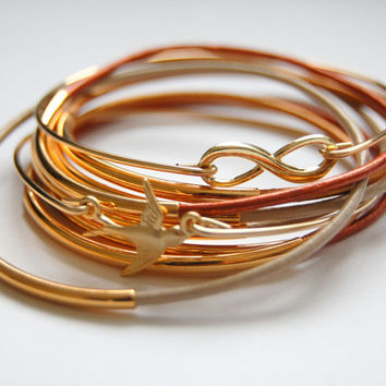 Fall into Autumn Bangle Bracelet Set,  Bohemian Jewelry,  gold Bangle bracelet, leather bangles, leather wrap