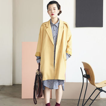 Yellow Duster Jacket Yellow Duster Coat Trench Coat Spring Jacket Boxy Silhouette Relaxed Fit