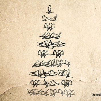 Christmas Bird Tree Rubber Stamp - 2 x 3 inches