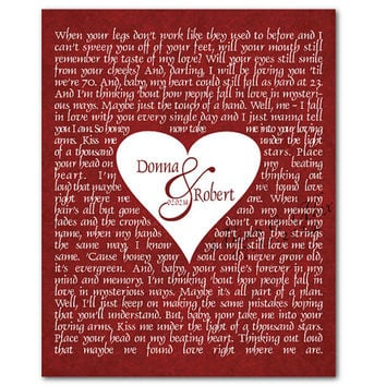 Custom Wedding Song - First Song - Typography Wall Art Word Art - Heart - Anniversary Wedding Gift Valentine's Day Father's - Mother's Day