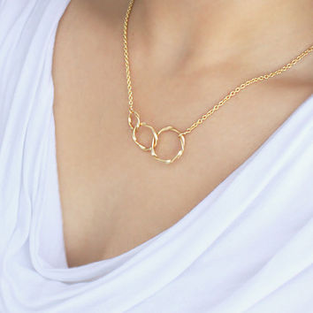 Eternity, Three Circle Necklace, Gold