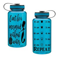 Can't Be A Mermaid Without Water 34oz Water Intake Tracker. Gym Water Bottle Personalized Water Bottle Hourly Reminders