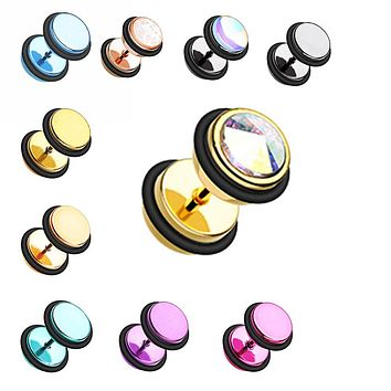 Gemmed Iridescent & Revo Iridescent & Glitter Opal Metallic Coat Acrylic Fake Plug with O-Rings