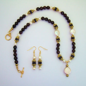 Faceted Garnets, Blister Coin Pearls, Statement Necklace with Ornate Gold Tone Bead Caps and Fresh Water Pearls