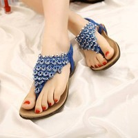 Fashion Beaded Net Thong Sandal