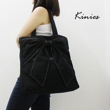 QT Canvas Tote in BLACK  Double Straps Shoulder Bag by Kinies