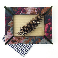 Floral Picture Frame with Velvet Trim / Regency Style Vintage Frame / Bold, Chic 1980s Decor / Jewel Tones / Thick Fabric Frame