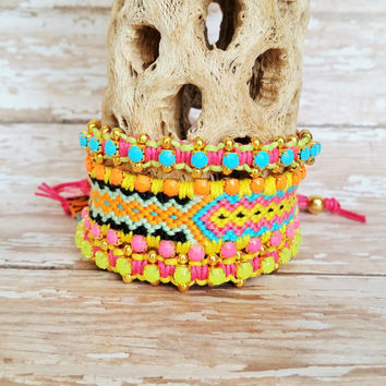 OOAK Festival Friendship Bracelet Set | Three (3) Piece Arm Stack | Boho, Hippie, Gypsy Style | Colorful Layered Bracelet Set