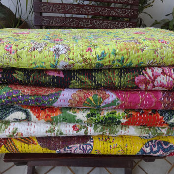 Set of 10 Queen Size Kantha Quilt, Wholesale Floral Print Kantha Bedspread,Handmade Reversible Kantha, Hand Kantha Work, Home Decor, India