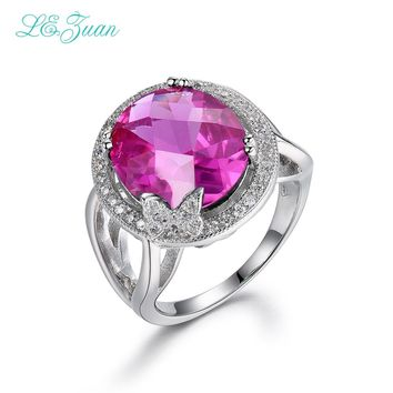 I&zuan 100% 925 sterling-silver-jewelry Rings For Women 10.45ct Ruby Pink Stone Luxury Fine Jewelry Trendiest Ring R0058-W07