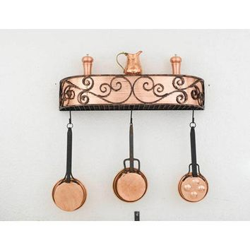 Hi-Lite H-90-24Y-B-BK01-PA-COP-W-CI Authentic Iron Black Leather Wall Mounted Pot Rack
