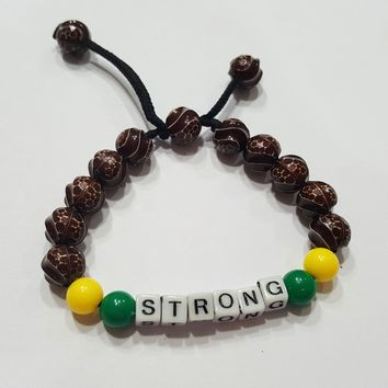 "SALE Shamballa 1 Pc ""STRONG"" Letters Message Bracelets for Men Women Beaded Bracelets Multi Layer Stackable Ethnic Tribal African  Bracelet"