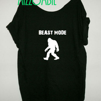 BEAST MODE bigfoot off the shoulder loose fit ladies women workout gym t shirt humor funny slouchy regular and plus size geek