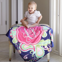 Baby Girls Navy Paisley Name Blanket