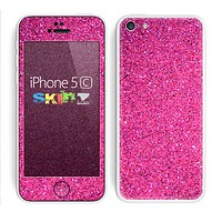 The Pink Sparkly Glitter Ultra Metallic Skin for the Apple iPhone 5c