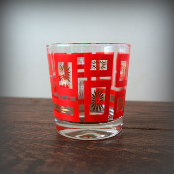 2 RETRO KITCHEN GLASSES Geometric Red and Gold Mid Century Modern Hollywood Regency Fabulous Rock Whiskey Glasses, Scotch, Lowball, Drinking
